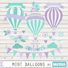 Hot air balloons clipart: MINT BALLOONS CLIPART by MashaStudio