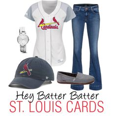 Hey Batter Batter - St. Louis Cardinals by krista-bodnar on Polyvore featuring J Brand and FOSSIL
