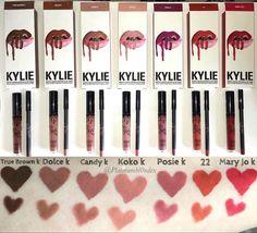 Kylie lip kit swatches - true brown k , dolce k , candy k , koko k , posie k , 22 , Mary Jo k #kylielipkit #kyliecosmetics