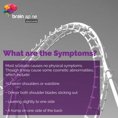 What Are The Symptoms? Most #Scoliosis cause no physical symptoms. Though it may cause some cosmetic abnormalities,  Which Include:  * Uneven Shoulders Or Waistline  * One Or Both Shoulders Blades Sticking Out.  * Leaning Slightly To One Side.  * A hump On One Side Of The Back.  #brainspineassoc