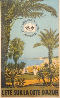 Côte d'azur French Riviera - Vintage travel poster  PLM #essenzadiriviera www.varaldocosmetica.it/en