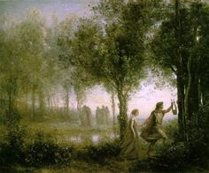 """Orpheus Leading Eurydice from the Underworld"" by Jean-Baptiste-Camille Corot"
