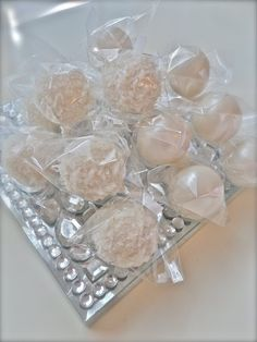 Edible wedding favor white wedding chocolate dipped cake pops Frost the Cake. $22.00, via Etsy.