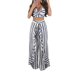 Sexy Summer Outfits Draped Strapless Crop Top and Ruched Wide Leg Pants Clubwear Matching Sets Women Striped Two Piece Set Plus Size Bikini Bottoms, Women's Plus Size Swimwear, One Piece Swimwear, Curvy Swimwear, Striped Two Piece, Striped Style, Strapless Crop Top, Backless Top, Pantsuits For Women
