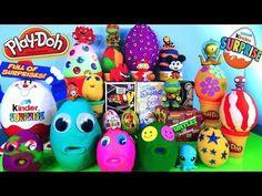 Surprise Play Doh Eggs Kinder Joy Toys Transformers LPS Disney Vinylmation TMNT Super Mario Opening - YouTube