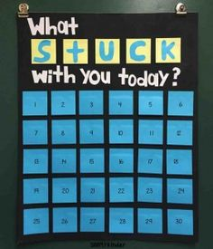 "Made this fun chart for students to put sticky notes on so we can talk about ""What stuck with you today!"""