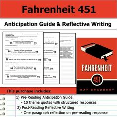 Fahrenheit 451 - Anticipation Guide and Reflection Post Reading Activities, Too Cool For School, School Stuff, Fahrenheit 451, Tools For Teaching, English Classroom, Book Study, Teacher Hacks, The More You Know