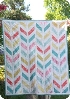 Herringbone Baby Quilt (Craftiness is not Optional) | with link to tutorial by The Crafty Cupboard