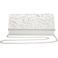 M&Co Cutout Clutch Bag (125 RON) ❤ liked on Polyvore featuring bags, handbags, clutches, ivory, ivory purse, cut out handbag, summer purses, white clutches and summer handbags