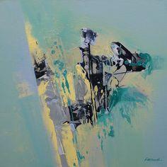 Peinture abstraite vert, jaune, noir