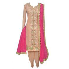 Ethnic peach semi stitched suit adorn in gota patti work-Mohan's the chic window Designer Punjabi Suits, Indian Designer Wear, Patiala Suit, Salwar Kameez, Kurti, Indian Party Wear, Indian Suits, Indian Ethnic Wear, The Chic