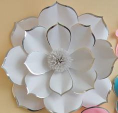 Discover thousands of images about Boda fondo papel grande flor Wall vivero Decor flor de Wedding Backdrop - Large Paper Flower Wall - Nursery Decor - Glossy White Pink Light Blue Paper Flower with Silver Shine Along Edges New wedding decorations flowers Big Paper Flowers, Paper Flower Wall, Paper Flower Backdrop, Giant Paper Flowers, Large Flowers, Diy Flowers, Flower Decorations, Fabric Flowers, Wedding Flowers