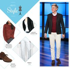 Ellen's Look of the Day: blazer, sweater and white jeans