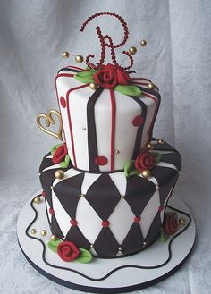 Red and black wedding cake by RebeccaSutterby, via Flickr