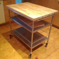 details about butcher block kitchen cart rolling island storage