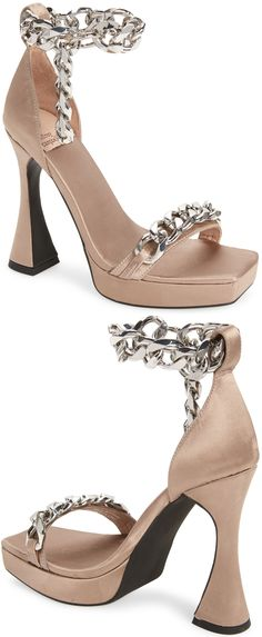 Gleaming chain links add modern glamour to a standout satin sandal set on a lofty flared heel Embellished Sandals, Studded Sandals, Ankle Strap Sandals, Open Toe Booties, Lace Up Booties, Balmain Boots, Hiking Fashion, Fashion Tips, Chain Links