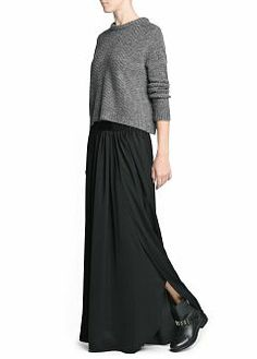 MANGO - CLOTHING - Skirts - Side slit long skirt