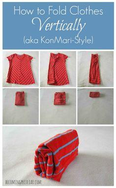 How to fold a shirt vertically (i.e. the konmari way)
