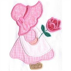 Sunbonnet Sue ~ in pink gingham, holding a rose