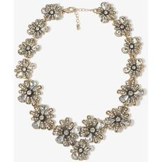 FOREVER 21 Bejeweled Flower Collar Necklace ($25) ❤ liked on Polyvore