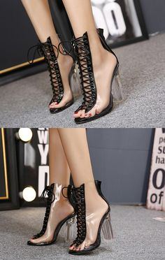 e2004fdef8b6 Lace Up Zipper Back Transparent Heels