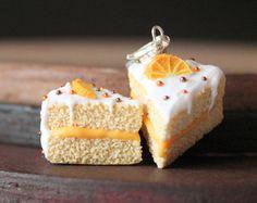 Polymer clay cake charm. Orange cake. Miniature food jewelry. Cake charm. Polymer clay charm