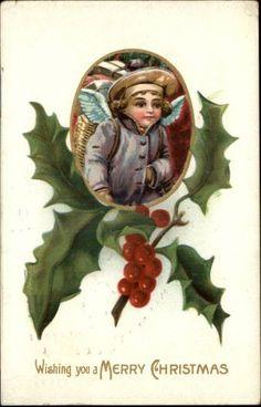 CHRISTMAS Little Boy HOLLY BORDER c1910 Postcard