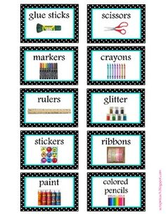 FREE Labels! Classroom organization labels (aqua and black/white polka dot)
