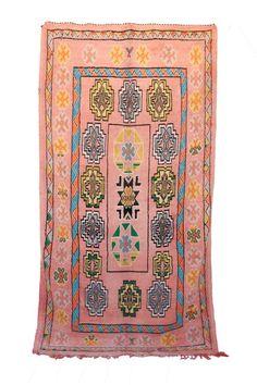 Boujad Vintage Moroccan Hand Woven Wool Pink Area Rug