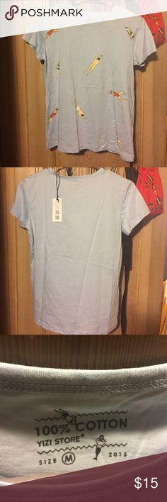 Yizi swim tee Swimmer tee. Light blue with little 🏊 swimming people in front. NWT. Never worn! Caution there is a skinny dipper on there lol. Tops Tees - Short Sleeve
