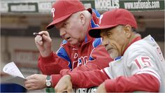 Davey Lopes (right) was the Phils' first base coach from 2007-2010 and helped manager Charlie Manuel's (left) team become the best base-stealing team of that era