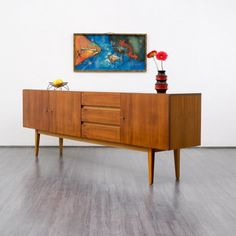 1960s sideboard, walnut Karlsruhe Velvet-Point