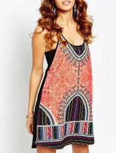 Multicolor Spaghetti Strap Geometric Print Dress