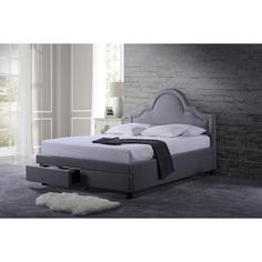 WholeSale Interiors Baxton Studio Brisbane Grey King Modern Fabric Storage Platform Bed with 2 Drawers -
