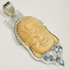 Buddha?  Gorgeous Cut Camel Bone Carved Face Blue Topaz 925 Silver Pendant 2 75 Long | eBay
