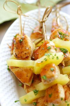 Hawaiian Chicken Bites - amazing chicken skewers with pineapple with Hawaiian BBQ sauce. This recipe is so easy and a crowd pleaser | rasamalaysia.com