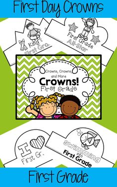 A huge collection of crowns that your first graders can wear on their first day of school. They'll be engaged from the start as they color and/or decorate a crown of their own! Choose one design for the entire class or copy several designs and let students choose their favorite.