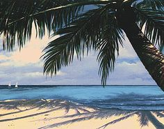 "Tropical Beach Print 33 x 16.5""  Limited Edition Giclee. Title: Under the Palm"