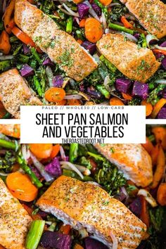Sheet Pan Salmon and Vegetables is a nutrient-dense healthy dinner recipe that only requires one sheet pan or casserole dish! Paleo, whole30, and low-carb #paleo #glutenfree #whole30 #lowcarb #salmon #vegetables #roastedvegetables