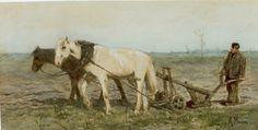 Anthonij 'Anton' Mauve (Zaandam 1838-1888 Arnhem) Boer met zijn ploeg - Kunsthandel Simonis en Buunk, Ede (Nederland).