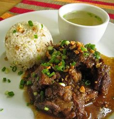 original beef pares ( a Filipino dish. pares means pairs.read on to know why its aptly named) Filipino Recipes, Asian Recipes, Filipino Food, Pinoy Recipe, Ethnic Recipes, Goulash, Beef Pares, Easy Cooking, Recipes