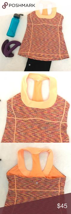 LULULEMON Scoop Neck Tank Space Dyed Tang LULULEMON Scoop Neck Tank Space Dyed Tang in size 8. Lulu tag is cut but in perfect condition. Shelf bra but no pads included. lululemon athletica Tops Tank Tops