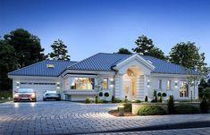 Willa Parkowa 6 on Behance My House Plans, House Layout Plans, Modern House Plans, House Layouts, Modern Bungalow House, Bungalow Exterior, Bungalow House Plans, Flat House Design, Village House Design