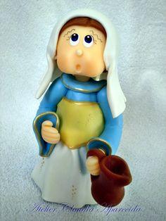 Santa Zita  modelada em biscuit com características infantis.  Elo7 - Atelier Claudia Aparecida
