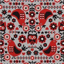 Grey Kokka Fabric with red birds (modes4u.com)