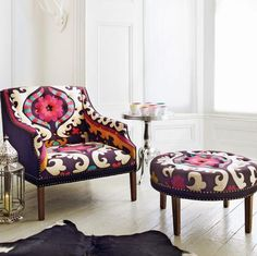 Wild printed upholstered chair