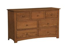Amish Monterey Seven Drawer Dresser with Optional Hutch Top Add a hutch top or a mirror to this solid wood dresser.