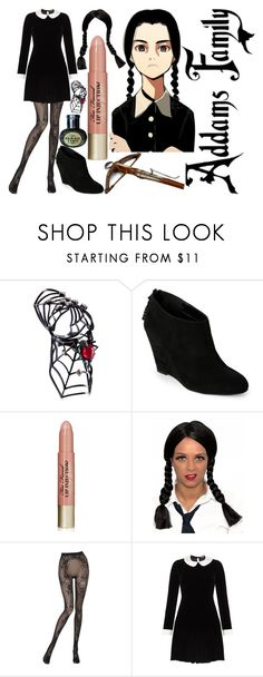 """""""wednesday addams"""" by silent-killer ❤ liked on Polyvore featuring Staurino Fratelli, Anne Klein, Too Faced Cosmetics, Wolford and Meadham Kirchhoff"""