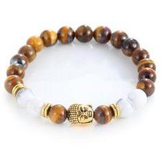 Unisex Natural Stone Agate Buddha or Skull Bracelet
