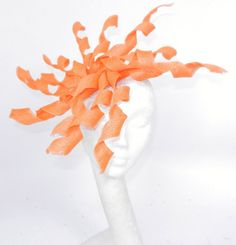 Orange Fascinator Hat for Weddings Cocktails by Hatsbycressida, $80.00